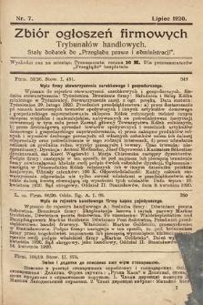 """Zbiór ogłoszeń firmowych trybunałów handlowych : stały dodatek do """"Przeglądu Prawa i Administracji"""". 1920, nr7"""