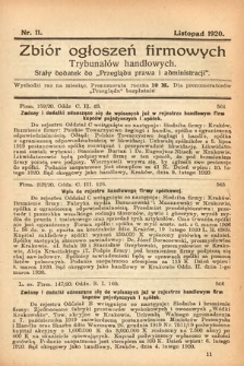 """Zbiór ogłoszeń firmowych trybunałów handlowych : stały dodatek do """"Przeglądu Prawa i Administracji"""". 1920, nr11"""