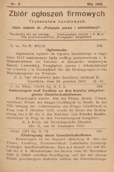 """Zbiór ogłoszeń firmowych trybunałów handlowych : stały dodatek do """"Przeglądu Prawa i Administracyi"""". 1913, nr5"""