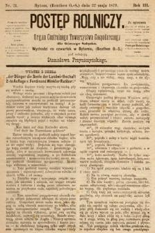 Postęp Rolniczy : organ przemysłowo-gospodarczy prowincyi szlaskiej. 1879, nr21