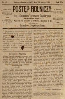 Postęp Rolniczy : organ przemysłowo-gospodarczy prowincyi szlaskiej. 1879, nr12
