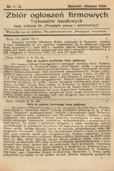 """Zbiór ogłoszeń firmowych trybunałów handlowych : stały dodatek do """"Przeglądu Prawa i Administracji"""". 1924, nr1-3"""