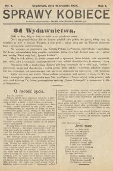 Sprawy Kobiece. 1924, nr1