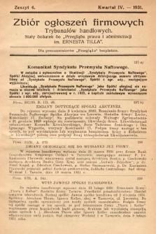 """Zbiór ogłoszeń firmowych trybunałów handlowych : stały dodatek do """"Przeglądu Prawa i Administracji im. Ernesta Tilla"""". 1931, z.4"""