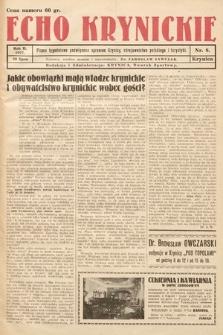 Echo Krynickie : pismo tygodniowe poświęcone sprawom Krynicy, zdrojownictwa polskiego i turystyki. 1927, nr8