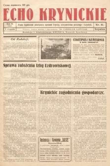 Echo Krynickie : pismo tygodniowe poświęcone sprawom Krynicy, zdrojownictwa polskiego i turystyki. 1927, nr11