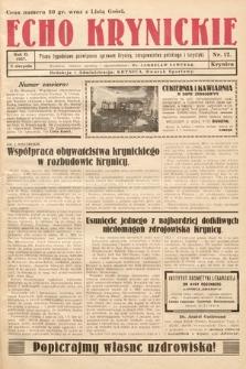 Echo Krynickie : pismo tygodniowe poświęcone sprawom Krynicy, zdrojownictwa polskiego i turystyki. 1927, nr12