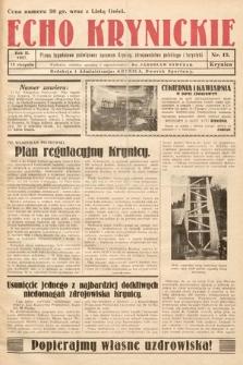 Echo Krynickie : pismo tygodniowe poświęcone sprawom Krynicy, zdrojownictwa polskiego i turystyki. 1927, nr13