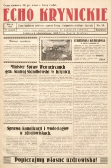 Echo Krynickie : pismo tygodniowe poświęcone sprawom Krynicy, zdrojownictwa polskiego i turystyki. 1927, nr14
