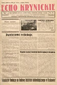 Echo Krynickie : pismo tygodniowe poświęcone sprawom Krynicy, zdrojownictwa polskiego i turystyki. 1927, nr16