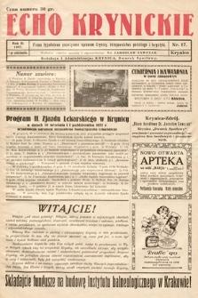 Echo Krynickie : pismo tygodniowe poświęcone sprawom Krynicy, zdrojownictwa polskiego i turystyki. 1927, nr17