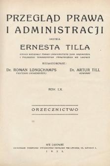Przegląd Prawa i Administracji imienia Ernesta Tilla : orzecznictwo. 1935