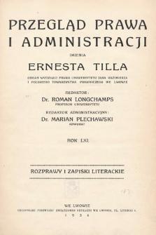 Przegląd Prawa i Administracji imienia Ernesta Tilla : rozprawy i zapiski literackie. 1936