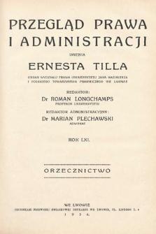Przegląd Prawa i Administracji imienia Ernesta Tilla : orzecznictwo. 1936