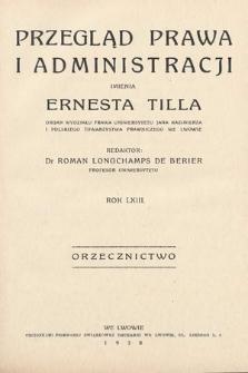 Przegląd Prawa i Administracji imienia Ernesta Tilla : orzecznictwo. 1938
