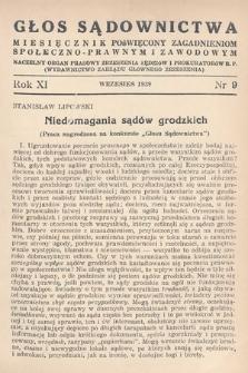 Głos Sądownictwa : miesięcznik poświęcony zagadnieniom społeczno-prawnym i zawodowym. 1939, nr9