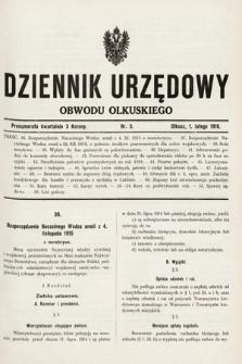 Dziennik Urzędowy Obwodu Olkuskiego. 1916, nr3