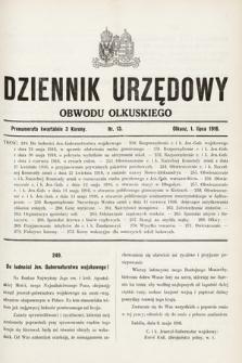 Dziennik Urzędowy Obwodu Olkuskiego. 1916, nr13