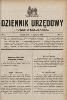 Dziennik Urzędowy Powiatu Olkuskiego. 1918, nr1