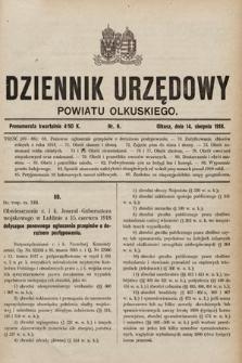 Dziennik Urzędowy Powiatu Olkuskiego. 1918, nr6