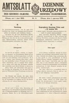 Amtsblatt des Kreises Olkusz = Dziennik Urzędowy Obwodu Olkuskiego. 1915, nr4