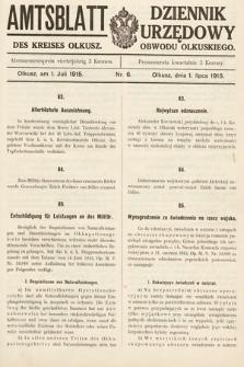 Amtsblatt des Kreises Olkusz = Dziennik Urzędowy Obwodu Olkuskiego. 1915, nr6