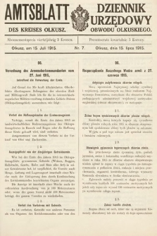Amtsblatt des Kreises Olkusz = Dziennik Urzędowy Obwodu Olkuskiego. 1915, nr7