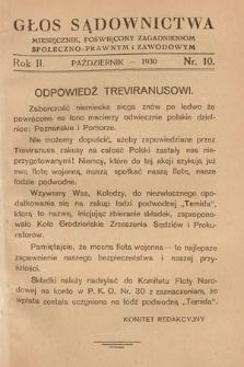 Głos Sądownictwa : miesięcznik poświęcony zagadnieniom społeczno-prawnym i zawodowym. 1930, nr10