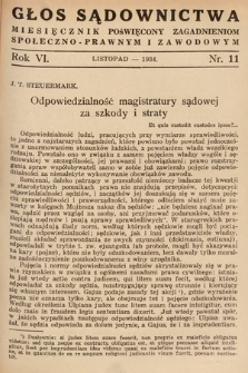 Głos Sądownictwa : miesięcznik poświęcony zagadnieniom społeczno-prawnym i zawodowym. 1934, nr11