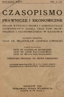 Czasopismo Prawnicze i Ekonomiczne : organ Wydziału Prawa i Administracyi Uniwersytetu Jagiellońskiego oraz Towarzystwa Prawniczego i Ekonomicznego w Krakowie. 1926, z. 1-12