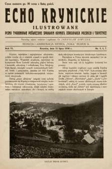 Echo Krynickie : pismo tygodniowe poświęcone sprawom Krynicy, zdrojowisk polskich i turystyce. 1930, nr5-7