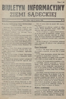 Biuletyn Informacyjny Ziemi Sądeckiej. 1945, nr10