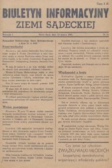 Biuletyn Informacyjny Ziemi Sądeckiej. 1945, nr21