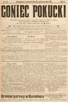 Goniec Pokucki : czasopismo poświęcone polityce isprawom społecznym Pokucia iokolicy. 1907, nr42