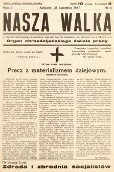 Nasza Walka : organ chrześcijańskiego świata pracy. 1937, nr4