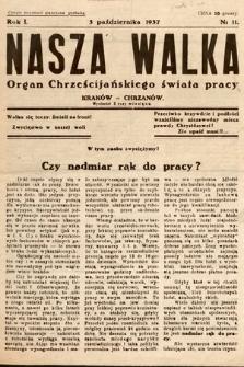 Nasza Walka : organ chrześcijańskiego świata pracy. 1937, nr11