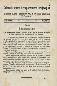 Dziennik Ustaw i Rozporządzeń Krajowych dla Królestwa Galicyi i Lodomeryi wraz z Wielkiem Księstwem Krakowskiem. 1875, cz.2