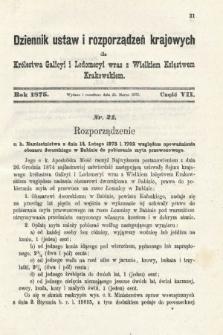 Dziennik Ustaw i Rozporządzeń Krajowych dla Królestwa Galicyi i Lodomeryi wraz z Wielkiem Księstwem Krakowskiem. 1875, cz.7