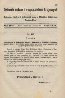 Dziennik Ustaw i Rozporządzeń Krajowych dla Królestwa Galicyi i Lodomeryi wraz z Wielkiem Księstwem Krakowskiem. 1875, cz.29