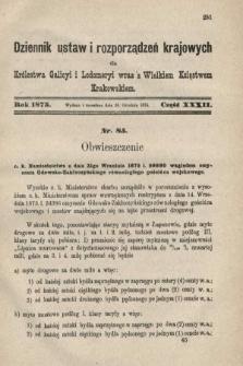 Dziennik Ustaw i Rozporządzeń Krajowych dla Królestwa Galicyi i Lodomeryi wraz z Wielkiem Księstwem Krakowskiem. 1875, cz.32