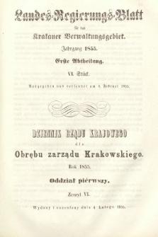 Dziennik Rządu Krajowego dla Obrębu Zarządu Krakowskiego. 1855, oddział 1, z.6