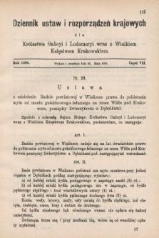 Dziennik Ustaw i Rozporządzeń Krajowych dla Królestwa Galicyi i Lodomeryi wraz z Wielkiem Księstwem Krakowskiem. 1890, cz.7