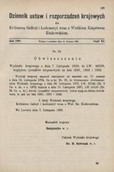 Dziennik Ustaw i Rozporządzeń Krajowych dla Królestwa Galicyi i Lodomeryi wraz z Wielkiem Księstwem Krakowskiem. 1890, cz.11