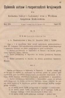 Dziennik Ustaw i Rozporządzeń Krajowych dla Królestwa Galicyi i Lodomeryi wraz z Wielkiem Księstwem Krakowskiem. 1883, cz.3