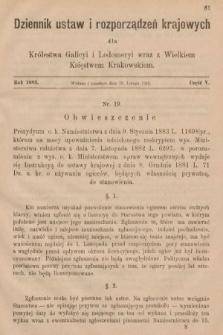 Dziennik Ustaw i Rozporządzeń Krajowych dla Królestwa Galicyi i Lodomeryi wraz z Wielkiem Księstwem Krakowskiem. 1883, cz.5