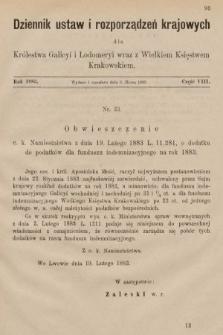 Dziennik Ustaw i Rozporządzeń Krajowych dla Królestwa Galicyi i Lodomeryi wraz z Wielkiem Księstwem Krakowskiem. 1883, cz.8