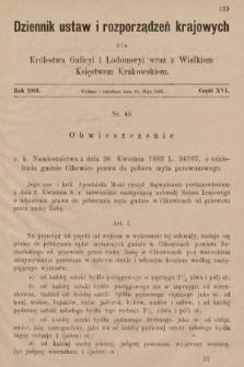 Dziennik Ustaw i Rozporządzeń Krajowych dla Królestwa Galicyi i Lodomeryi wraz z Wielkiem Księstwem Krakowskiem. 1883, cz.16