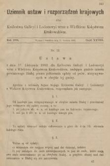 Dziennik Ustaw i Rozporządzeń Krajowych dla Królestwa Galicyi i Lodomeryi wraz z Wielkiem Księstwem Krakowskiem. 1883, cz.28