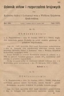 Dziennik Ustaw i Rozporządzeń Krajowych dla Królestwa Galicyi i Lodomeryi wraz z Wielkiem Księstwem Krakowskiem. 1883, cz.29