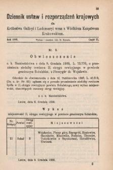 Dziennik Ustaw i Rozporządzeń Krajowych dla Królestwa Galicyi i Lodomeryi wraz z Wielkiem Księstwem Krakowskiem. 1889, cz.2